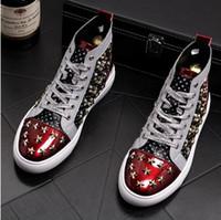 koreanische markenschuhe großhandel-2019 neue Koreanische Hip Hop Schuhe Mode Hohe Freizeitschuhe Für Männer Leder Spitze Atmungsaktive Männer marke niet Top Schuhe 1a10