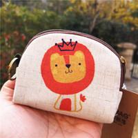 ingrosso mini sacchetti di lino-Borsa unisex in lino Fox Purse Card con portamonete Mini borsa piccola portamonete Portafoglio portamonete Portafoglio 15 colori