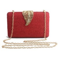 Wholesale gold elegant evening bag for sale - Group buy Sparkling Box Evening Clutch Purse for Women Elegant Chain Bag with Leaf Clasp for Wedding Party Top Grade