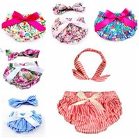 Wholesale hot girls baby diapers for sale - Group buy Baby Bloomer Shorts Bow Headband Suits Summer PP Pants Lace Hot Trousers Diaper Cover Briefs Boutique Shorts Girls Dance Shorts CZYQ5765