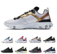 ouro preto mtb venda por atacado-Reagir Elemento 55 87 tênis para homens de alta qualidade triplo preto Real Matiz Metálico Ouro homens treinador sports sneakers corredores 40-45