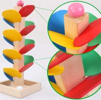 Wholesale tree blocks resale online - Wooden Tree Ball Run Track Game Toy Baby Model Building Blocks Kids Children Intelligence Educational Toy Baby Kid Gift Set