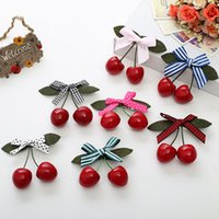 Wholesale red cherry hair clips for sale - Group buy 1pcs Pinup Girls Retro Vintage Rockabilly Hair Band Hair Accessory Red Cherry Bow Clip Lovely Style Colors