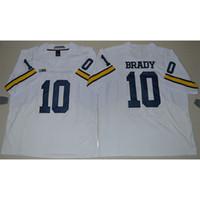 camisetas de elite americana al por mayor-Hombres Wolverines de Michigan Tom Brady Stitched NameNumber Elite American College Fútbol Jersey Tamaño S-3XL