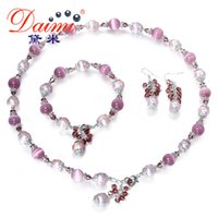 Wholesale bracelets cat eyes for sale - Group buy DMSFP041 MM Pearl Jewelry Sets Cats Eyes Stone Natrual Pearl For W