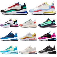sapatos casuais de mulheres bege venda por atacado-Nike air max 270 react Atacado designer de tênis para mulheres dos homens preto branco mens formadores sapatilhas esportivas almofada respirável sapato casual tamanho 40-46