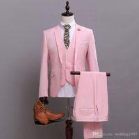 ingrosso gli uomini tuxedos dello sposo del costume-2018 Pink Formal Wedding Men Tute Risvolto con risvolto Custom Made Groom Tuxedos Three Piece Jacket Pants Vest