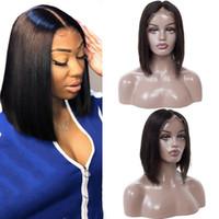 virgin lace wig toptan satış-Bob Düz Saç peruk Brezilyalı Bakire Saç Düz Dantel Ön İnsan Saç Peruk İsviçre Dantel Frontal Peruk Gaga kraliçe
