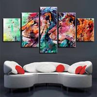 lienzos coloridos al por mayor-Impresiones HD Lienzo Wall Art Poster 5 Unidades Acuarela Leones Pareja Pinturas Coloridas Imágenes Abstractas Decoración Del Hogar Marco Modular