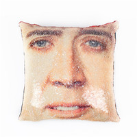 Wholesale throw pillow cushion covers kids resale online - Nicolas Cage Sequin Throw Pillow Case Donald Trump Mermaid pillow cover Decorative Color Change Cushion Cover Sofa Bedroom Car Kids
