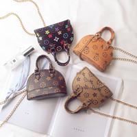 Wholesale korean children purses resale online - Kids Purses Little Teenage Girls Gifts Purses Korean Fashion Print Designer Mini Handbag Children PU Leather Shell One Shoulder Bag