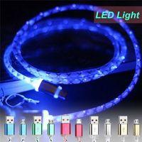 câble d'éclairage rétractable achat en gros de-Rétractable LED visible lumière rougeoyante micro usb données câble ligne chargeur cas de téléphone