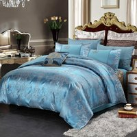 Wholesale luxury silk jacquard bedding sets for sale - 2018 New Luxury Silk Jacquard Bedding Set Cotton Duvet Cover Bed Set Pillowcase Queen king size Bed sheet green bedclothes