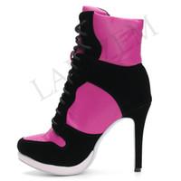 каблуки малого размера оптовых-LAIGZEM SUPER Крутые женские ботильоны Регулируемые ботинки на шнуровке Женская обувь Женская обувь Botines Mujer 2019 Маленький Большой Размер 34-47