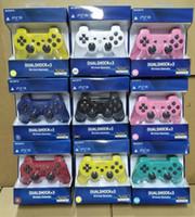 bluetooth kablosuz oyun denetleyicisi joystick toptan satış-PS3 kontrolörleri için Kablosuz Denetleyici Bluetooth Oyun Kontrolörleri Çift Şok playstation 3 PS3 Joystick gamepad