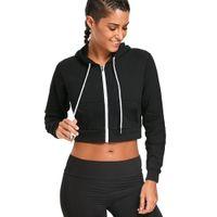 rayon giyim toptan satış-Zaful Zip Up Ön Cepler Hoodie Kırpma Üst Katı Kapşonlu Tops Uzun Sleeves70% pamuk 30% rayon Kadın Giyim