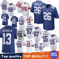 Wholesale barkley jersey online - 26 Saquon Barkley New York Gaints Jersey Eli Manning Odell Beckham Jr Brandon Marshall Landon Collins Shepard Simms Stitched