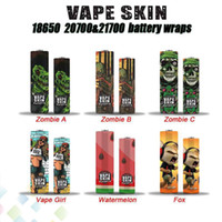 Vape Skin 18650 20700 21700 Battery Wraps Vaper Wrapper Cover Sleeve Shrinkable Wrap Heat Shrink Zombie Girl Fox Watermelon DHL Free