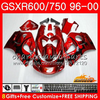 96 srad verkleidungen großhandel-Gehäuse für SUZUKI SRAD GSXR 750 600 GSXR-600 GSXR750 96 97 98 99 00 1HC.21 GSX-R750 GSXR600 1996 1997 1999 1999 Verkleidungssatz Schwarze Flammen