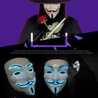 Wholesale full face decorative masks resale online - Halloween Carnival Night Ghost Step Dance Adult Fluorescent Decorative Mask vendetta fawkes mask hip hop dancing mask T9I00137
