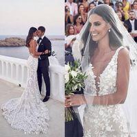 Wholesale v neck mermaid tulle wedding dress for sale - Group buy Backless Mermaid Beach Wedding Dresses V neck D Lace Applique Sweep Trumpet Steven Khalil Garden Bridal Wedding Dress