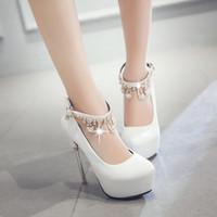chicas de polo al por mayor-Zapatillas de boda de última moda elegante de señora rhinestone blanco boda club de mujeres polo baile zapatos fiesta popular de la muchacha Zapatos de vestir