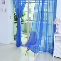 Wholesale door scarf resale online - Curtain Pure Color Tulle Door Window Curtain Drape Panel Sheer Scarf Valances Modern Bedroom Living Room Curtains Cortinas