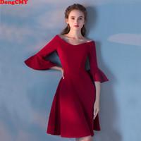 vestidos de baile de cor vinho venda por atacado-Atacado 2019 novo curto Prom vestido desgin vinho cor vermelha mulheres elegante festa moda plus size