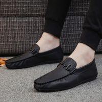 estilos preguiçosos venda por atacado-Stripes feijão homens Novo estilo sapatos macios Leathe preguiçoso calçado da moda sapatos de couro casuais Sapatos Masculinos
