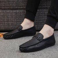 ayakkabı tembel stilleri toptan satış-Yeni Stil Erkek Çizgili Bean Yumuşak Leathe Tembel ayakkabı Şık Casual Deri Ayakkabı Erkek Ayakkabı Ayakkabı