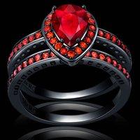 anel de coração negro venda por atacado-Nunca Desaparecer Duplo Coração Forma Red Cubic Zirconia 2 Anéis de Ouro Preto Festa de Casamento Anel Mulheres Presente