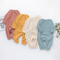 Wholesale newborn rompers for girls for sale - Group buy INS Spring Baby Boys Rompers Front Button Long Sleeve Fall Organic Cotton Newborn Jumpsuits Blank Yellow Baby Girls Onesies for M