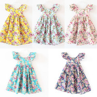 Wholesale butterfly clothing online - girls flower dress flower beach dress backless floral dress baby flower printed dresses butterfly sleeve summer kids clothing