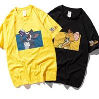 anime fareleri toptan satış-Kedi ve Fare Baskı T-shirt Pamuk Yuvarlak Boyun Anime Baskı Kısa Kollu Gevşek Vahşi Çift T-shirt