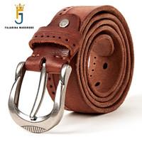 фирменные марки ремней оптовых-FAJARINA  Name Quality Striped Genuine Leather Belts Men's Fashion Man Pin Buckle Belts for Men Cow Skin Belt N17FJ300