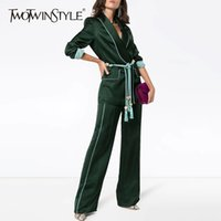 Wholesale women legs lace for sale - Group buy TWOTWINSTYLE Two Piece Sets Female Long Sleeve Lace Up Blazer Coat High Waist Long Wide Leg Trousers Women Fashion Autumn