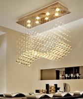 Wholesale chrome switches resale online - K9 Crystal Chandeliers LED Chrome Finished Light Wave Art Decor Modern Suspension Lighting Hotel Villa Hanging Lamp LLFA