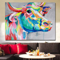 Wholesale abstract art paintings for sale resale online - HOT sale Handmade Abstract Animal color Cattle Oil Painting on Canvas Wall art picture for living room Home Decoration