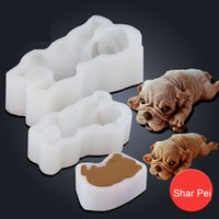 Wholesale stereo tools resale online - 3D stereo Shar Pei silicone mold inch inch dog cake mold small sleeping dog mousse cake moldeling tools