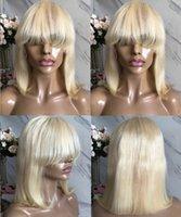cabelo cortado chinês cabelo venda por atacado-Celebridade perucas Bob Cut bang rendas frente Wigs # cabelo virgem Grade Chinese Human completa Lace Wigs 613 Loiro Cor 10A transporte rápido expresso