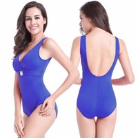 Wholesale swimwear big sizes online - Buckled Center Beachwear Removable Padding Swim Suit Fat MM Large Women Bathing Suits Low Back Plus Big Size One Piece Swimwear S