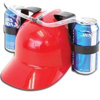 Wholesale soda cola resale online - Beverage Helmet Drinking Beer Cola Coke Soda Miner Hat Lazy Lounged Straw Cap Birthday Party Cool Unique Toy Prop Holder Guzzler
