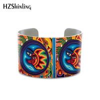mexikanische armbänder großhandel-2019 New Mexican Painting Huichol Art Armreif Böhmen Stil Armband für Frauen und Geschenke Aluminium Metall Armreifen