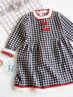 Wholesale black kids dress designs resale online - kids Girl designer clothes Dress Autumn Winter Knitted Long Sleeve White Black Plaid Princess Design Dress Princess Girl Clothing Dress