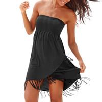 ingrosso abito boho frangia-Abiti Sexy abito a tubino Boho Dress Off The Shoulder Nappa Streetwear Sexy Black Summer Fringe Summer 2019