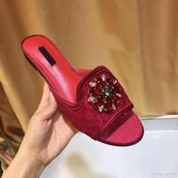 strass fuchsia achat en gros de-Été classique femmes pantoufles dentelle talons plats fleurs en cristal coloré embellies mules strass tongs plage chaussures chaussure femme