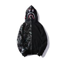 ingrosso maglione stile hip hop-Cappotto con cerniera per uomo, con cappuccio, marca hip hop, con cappuccio, per uomo, streetwear, maglione, moda, stella, star, Shark, stampa, cappotto
