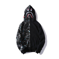herren pullover jacken großhandel-Mens Designer Hoodie Hip Hop Marke Reißverschluss Jacke Hoodie für Jugend Streetwear Pullover Männer Fashion Style Star Shark Print Mantel