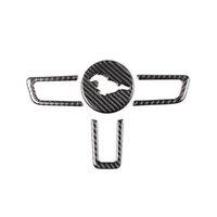 etiquetas do carro mustang do ford venda por atacado-Kipalm Mustang fibra de carbono real Direcção do emblema da roda para a Ford Mustang adesivos de carro Car-Styling 2015-2018 Mustang Stickers Acessórios
