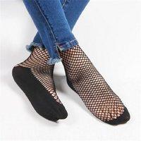 çorap çorabı toptan satış-Moda Kadın Kızlar Siyah Punk Hollow Out Fishnet Çorap Dantel katı Renk Seksi Ayak Bileği Çorap Bir Boyut Kısa Örgü Net Çorap 20 pairs / 40 adet